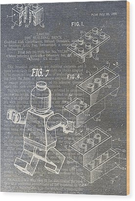 Lego Patent Wood Print by Nick Pappas