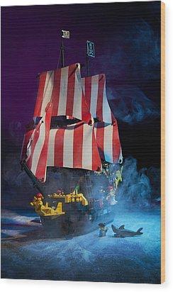 Lego Pirate Ship Wood Print by Samuel Whitton