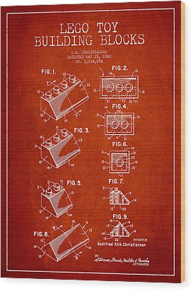 Lego Toy Building Blocks Patent - Red Wood Print by Aged Pixel