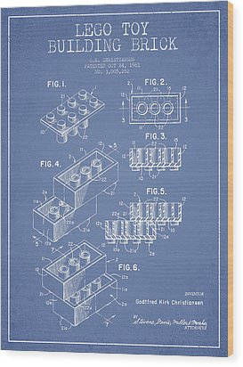 Lego Toy Building Brick Patent - Light Blue Wood Print by Aged Pixel