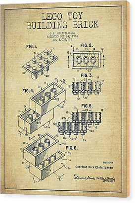 Lego Toy Building Brick Patent - Vintage Wood Print by Aged Pixel