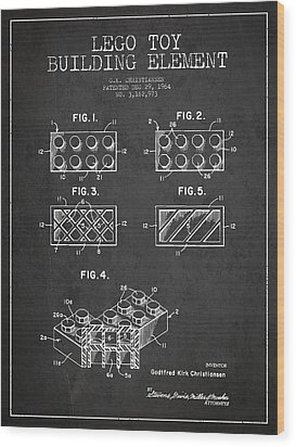 Lego Toy Building Element Patent - Dark Wood Print by Aged Pixel