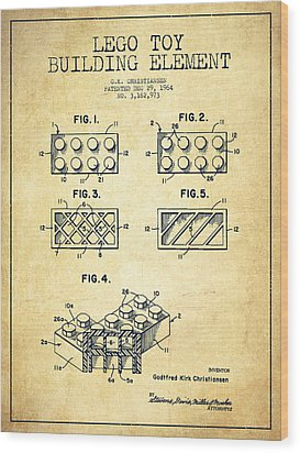Lego Toy Building Element Patent - Vintage Wood Print by Aged Pixel