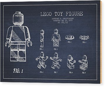 Lego Toy Figure Patent Drawing Wood Print by Aged Pixel