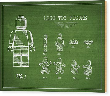 Lego Toy Figure Patent Drawing From 1979 - Green Wood Print by Aged Pixel