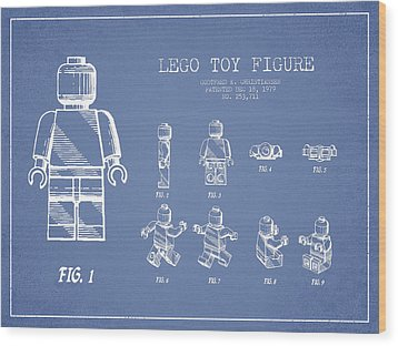 Lego Toy Figure Patent Drawing From 1979 - Light Blue Wood Print by Aged Pixel
