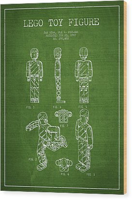 Lego Toy Figure Patent - Green Wood Print by Aged Pixel