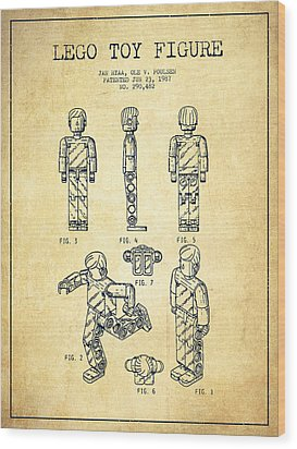 Lego Toy Figure Patent - Vintage Wood Print by Aged Pixel