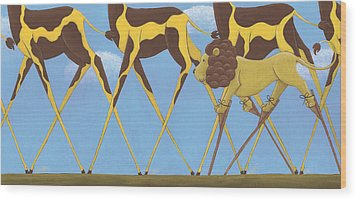 Whimsical Giraffe Painting  Wood Print by Christy Beckwith