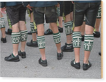Legs Of Men With Traditional Bavarian Half Stockings Wood Print