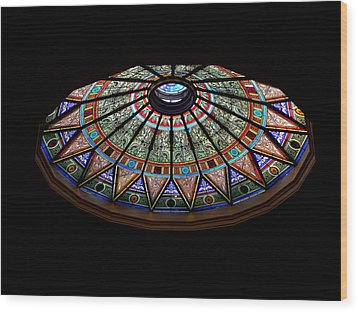 Lehigh University Linderman Library Rotunda Window Wood Print by Jacqueline M Lewis