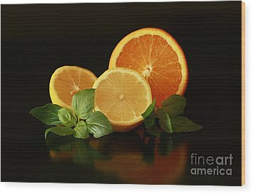 Lemon And Orange Delight Wood Print by Inspired Nature Photography Fine Art Photography