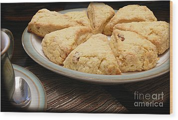 Wood Print featuring the photograph Lemon Apricot Scones For Tea by Maria Janicki
