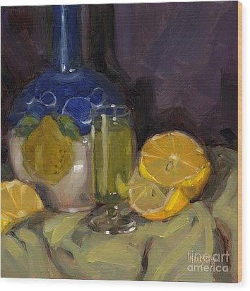 Wood Print featuring the painting Lemon Light by Nancy  Parsons