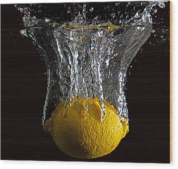 Wood Print featuring the digital art Lemon Splash by John Hoey