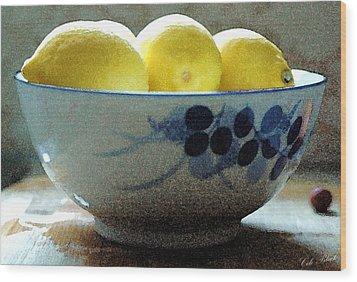 Lemon Still Life Wood Print by Cole Black