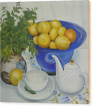Wood Print featuring the painting Lemon Tea by Helen Syron