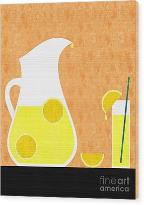 Lemonade And Glass Orange Wood Print by Andee Design