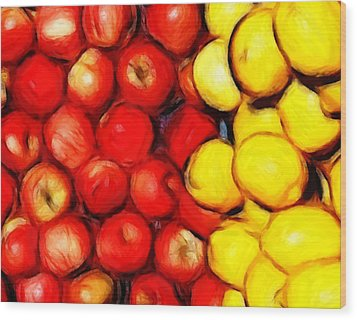 Lemons And Apples Wood Print by Steve K