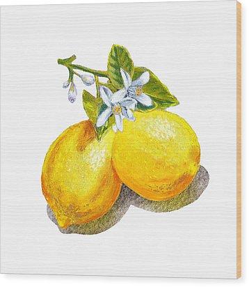 Lemons And Blossoms Wood Print