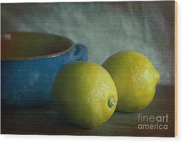 Lemons And Blue Terracotta Pot Wood Print by Elena Nosyreva