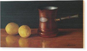 Lemons And Copper Wood Print