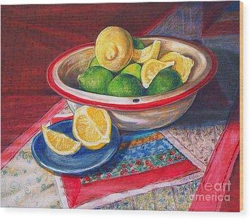 Lemons And Limes Wood Print by Joy Nichols