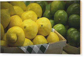 Lemons And Limes Wood Print by Julie Palencia