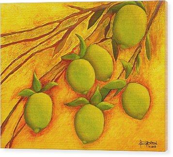 Lemons Wood Print by Fanny Diaz