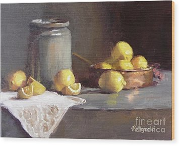 Lemons In Copper Pan  Wood Print