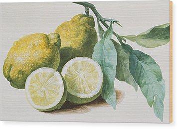 Lemons Wood Print by Pierre Joseph Redoute