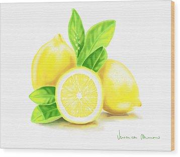 Lemons Wood Print by Veronica Minozzi