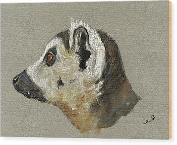 Lemur Head Study Wood Print by Juan  Bosco