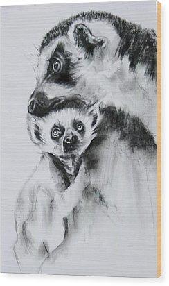 Lemurs  Wood Print by Jean Cormier