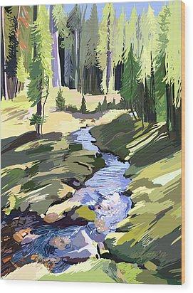 Lena Peak Stream Wood Print