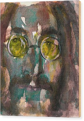 Wood Print featuring the painting Lennon 2 by Laur Iduc