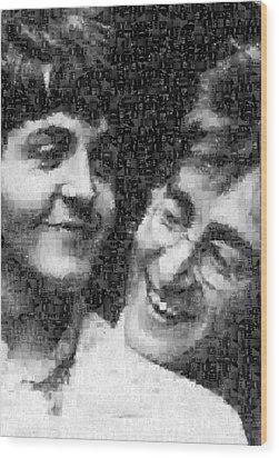 Lennon And Mccartney Mosaic Image 1 Wood Print