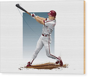 Wood Print featuring the digital art Lenny Dykstra by Scott Weigner