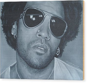 Wood Print featuring the painting Lenny Kravitz II by David Dunne