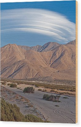 Lenticular Cloud Over Palm Springs Wood Print by Matthew Bamberg