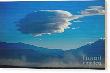 Lenticular Dust Storm Wood Print by Angela J Wright