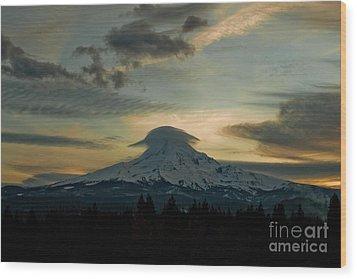 Lenticular Sunset On Mount Hood Wood Print by Cari Gesch