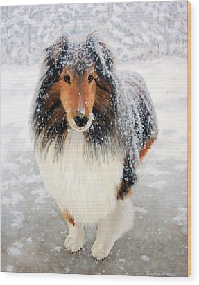 Wood Print featuring the painting Leo In The Snow by Sandra Chase