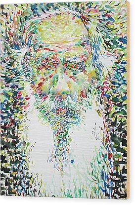 Leo Tolstoy Watercolor Portrait.1 Wood Print by Fabrizio Cassetta