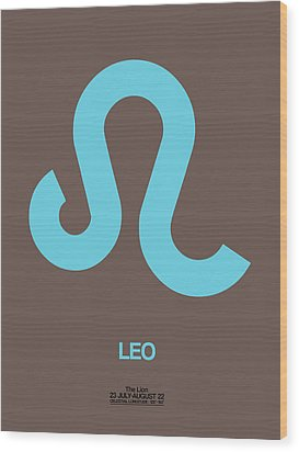 Leo Zodiac Sign Blue Wood Print