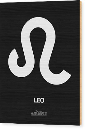 Leo Zodiac Sign White Wood Print