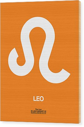 Leo Zodiac Sign White On Orange Wood Print