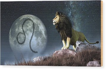 Leo Zodiac Symbol Wood Print by Daniel Eskridge