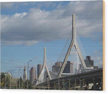 Leonard P Zakim Bridge Wood Print