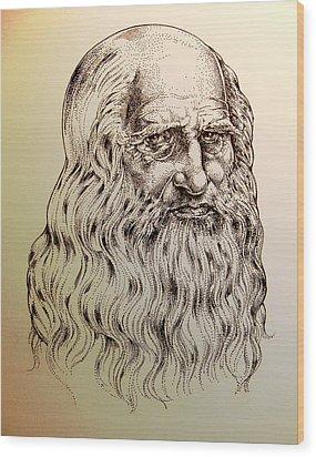 Leonardo Da Vinci Wood Print by Derrick Higgins